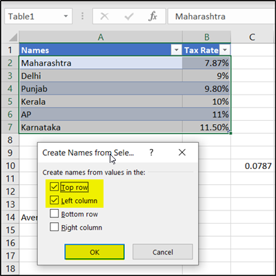 Create names for selection