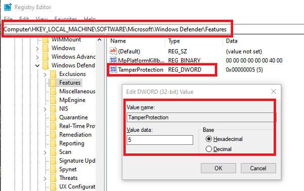 Enable Disable Tamper Protection in Windows 10