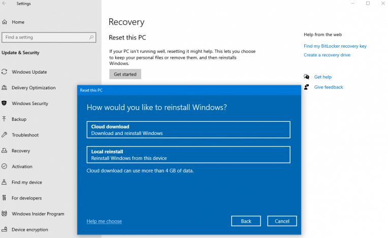 Windows 10 Cloud Reset Id
