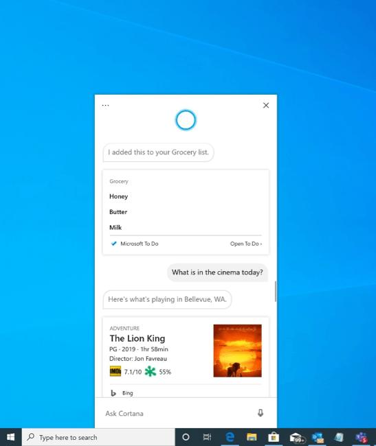 chat based cortana tren windows 10 20h1