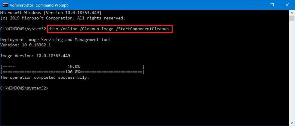 dism start component cleanup