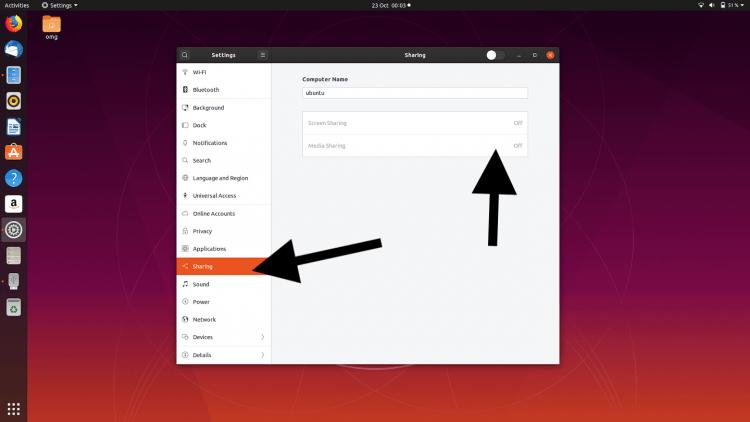 enable media sharing DLNA in ubuntu 19.10