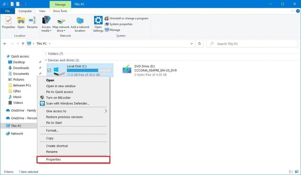 file explorer drive properties