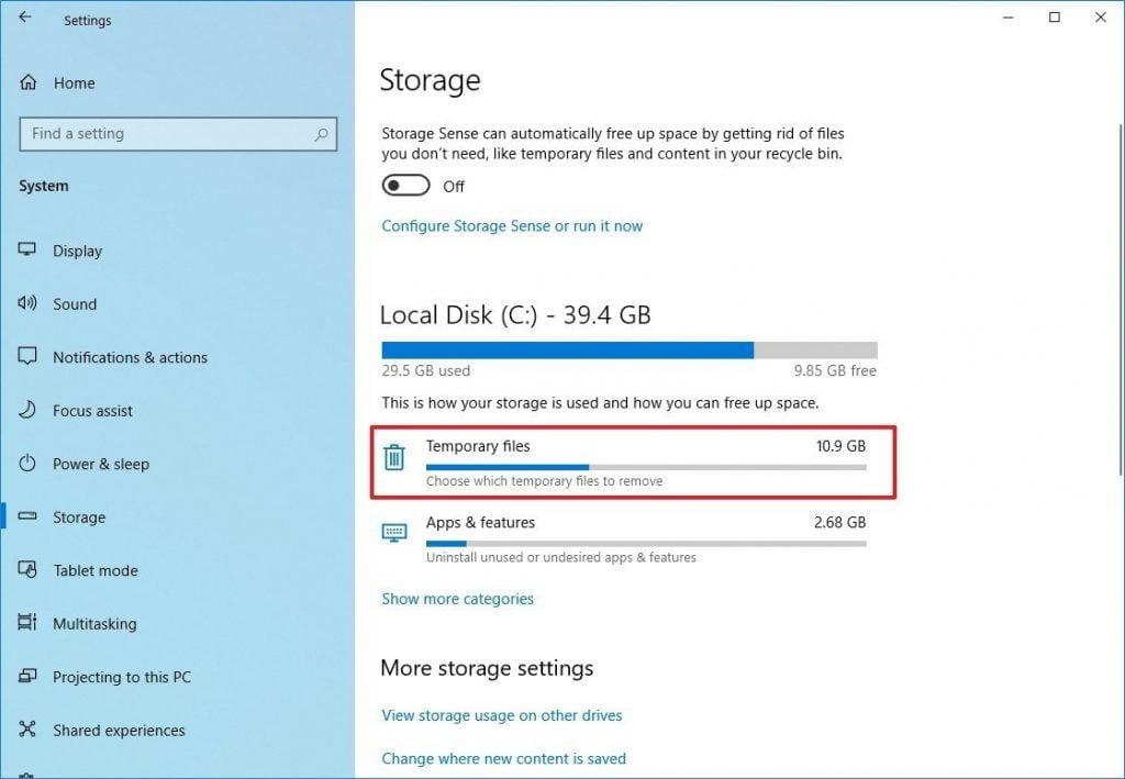 windows 10 storage settings tempfiles