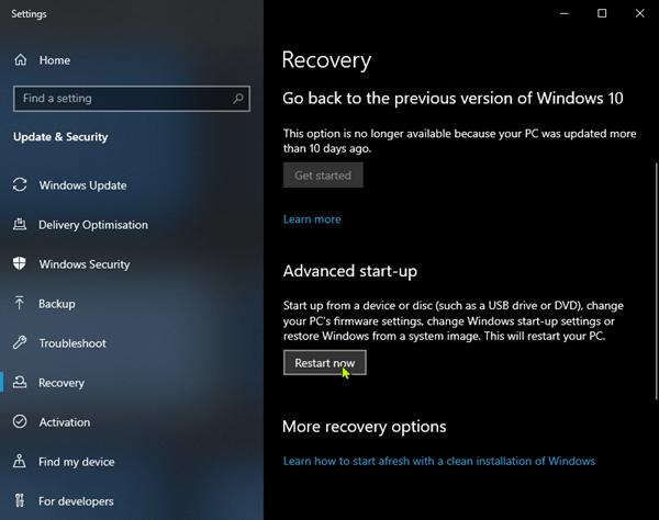 Advanced Startup Restart now Windows10