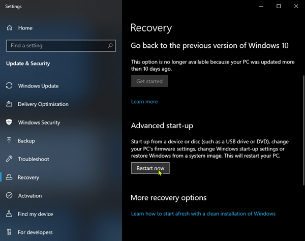 Advanced Startup Restart now Windows10