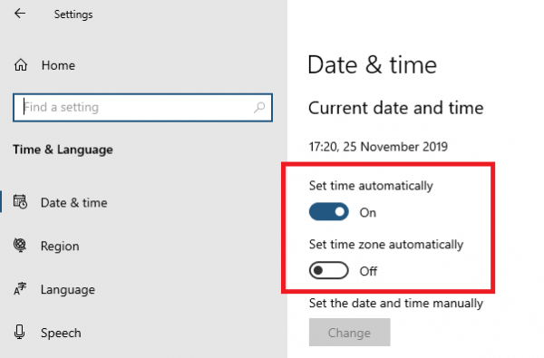 Set Time and Zone to update automatically