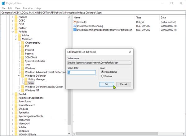 cau hinh Windows Defender quet o dia map tren windows 10 2
