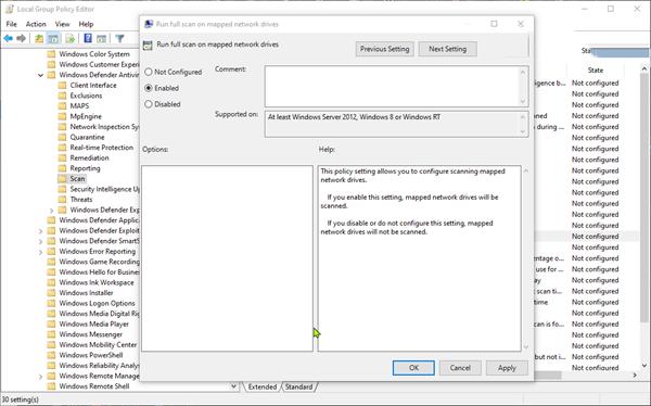 cau hinh Windows Defender quet o dia map tren windows 10