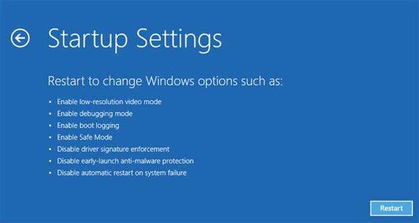 startup settings Windows 10