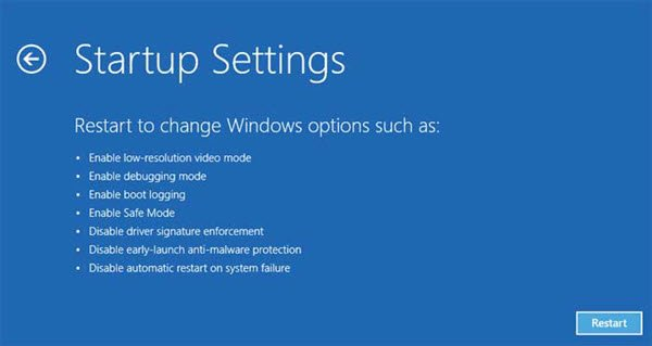 startup settings Windows 10