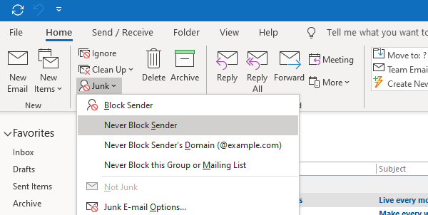 Add Individual email to safe senders list in Outlook