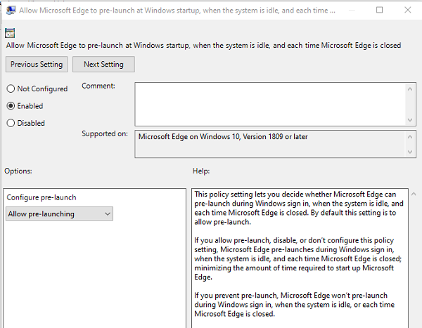Disable Edge Prelaunch Group Policy Windows 10