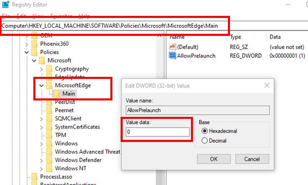 Disable Edge Prelaunch Registry Windows 10