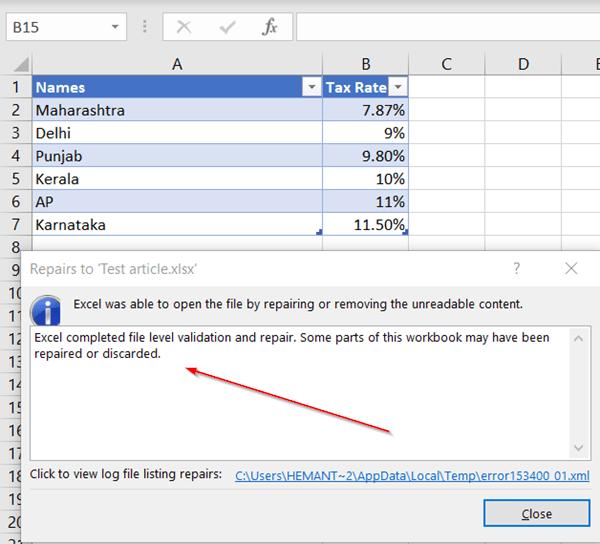 Excel Repair complete