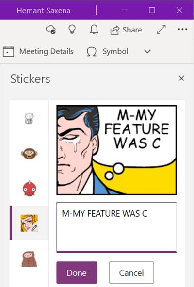OneNote Edit Sticker