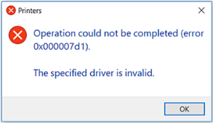 Cách sửa lỗi 0x000007d1 – The specified driver is invalid