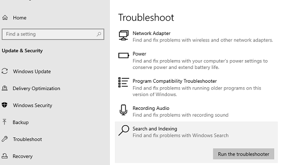 Run Search and Indexing Troubleshooter