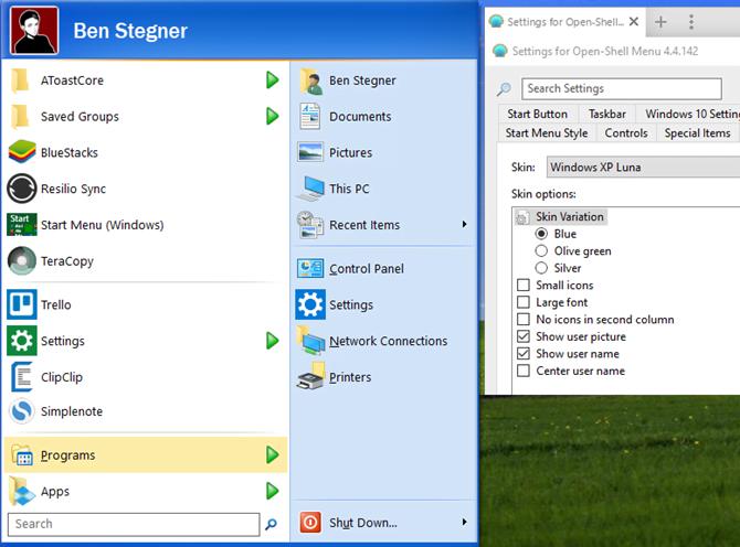 Windows XP Start Menu Windows 10