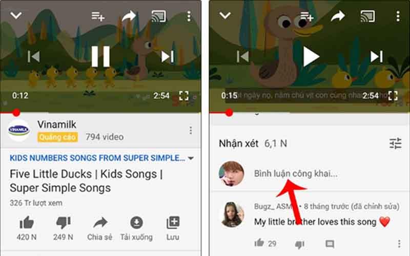 chen thoi gian vao binh luan youtube