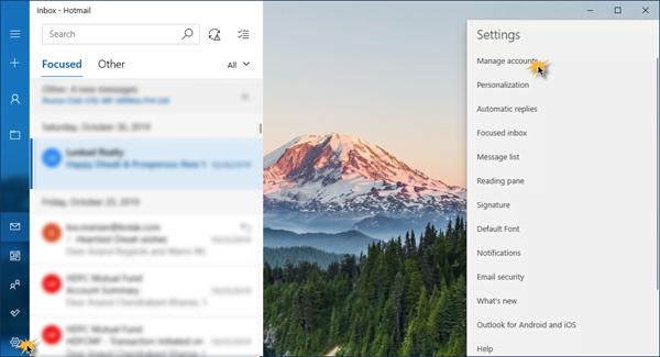 Đổi tên người gửi trong App Mail trên Windows 10