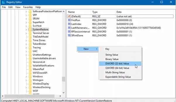 tao diem system restore windows 10 1