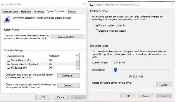 tao diem system restore windows 10