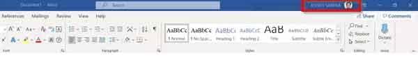 xóa tên người dùng khỏi thanh tiêu đề Office 365