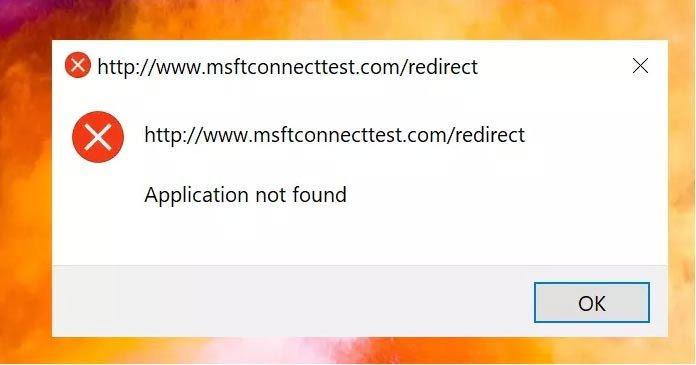 Cách xóa lỗi chuyển hướng msftconnecttest