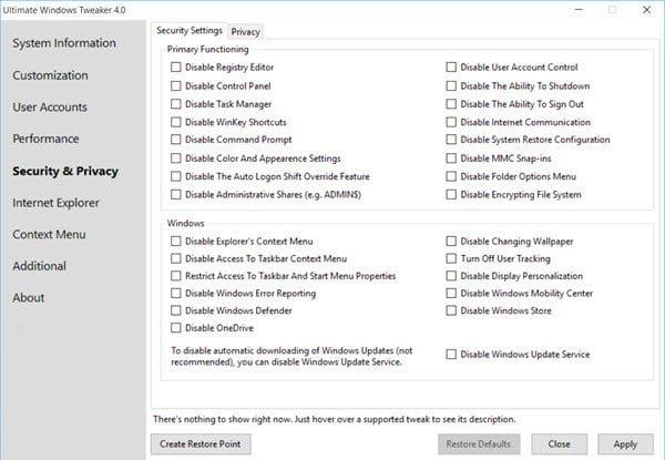 9 Ultimate Windows Tweaker 4