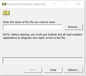 Outlook Inbox Repair tool browse path