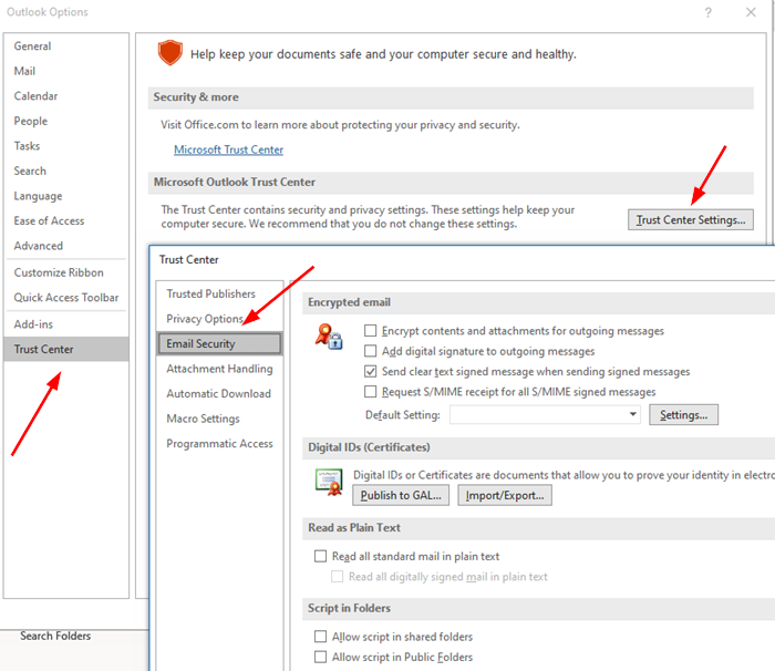 Select SMIME for All outlook emails