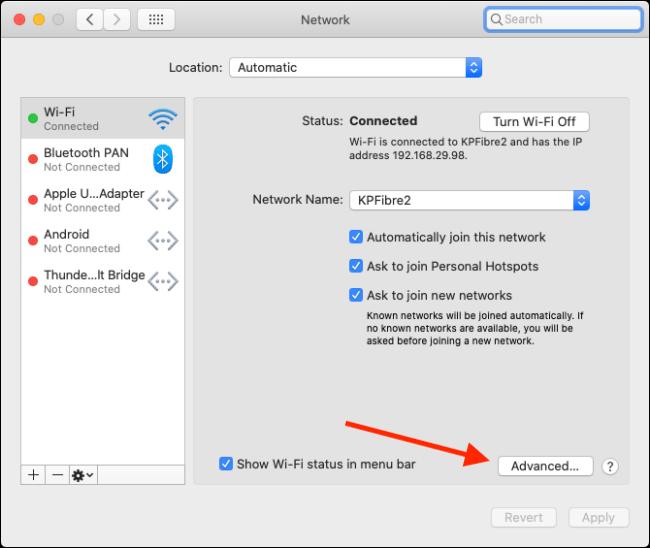 quên mạng Wi-Fi trên Mac