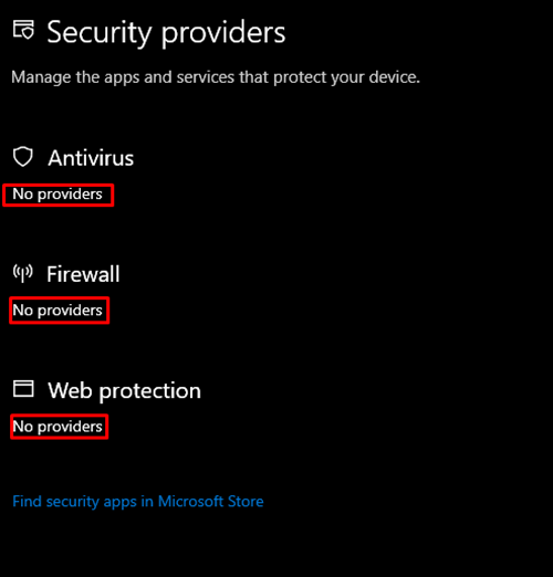 Windows Security báo No Providers trên Windows 10