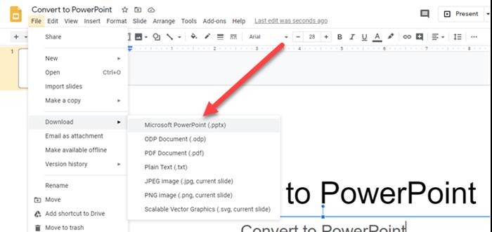 Chuyển từ Google Slides sang PowerPoint và ngược lại