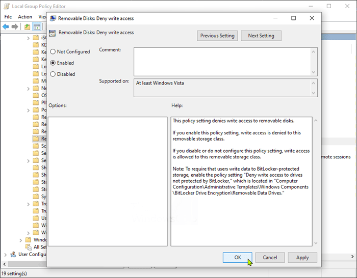 Enable or disable USB Write Protection Group Policy