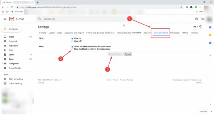 Gmail hide Google Meet buttons