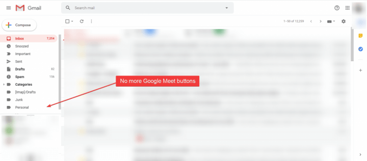 Gmail no more Google Meet buttons