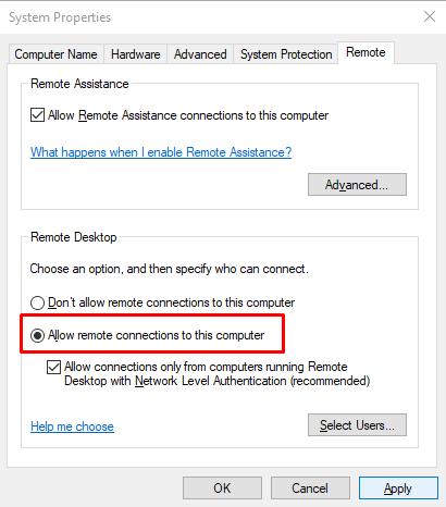 Remote Desktop Error code 0x204 trên Windows 10