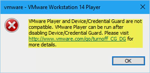 VMware Workstation và Device/Credential Guard không tương thích