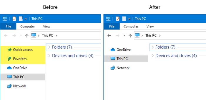 Cách ẩn và hiện Quick access và Favorites trên Explorer
