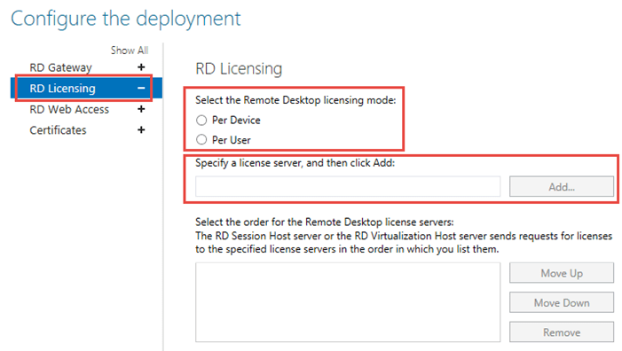 Configure RD Licensing Server