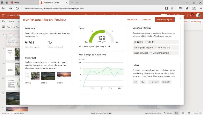 Cách sử dụng Presenter Coach trong Microsoft PowerPoint Online