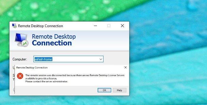Remote báo lỗi remote desktop license servers