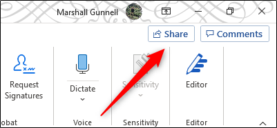 Share button in Microsoft Word