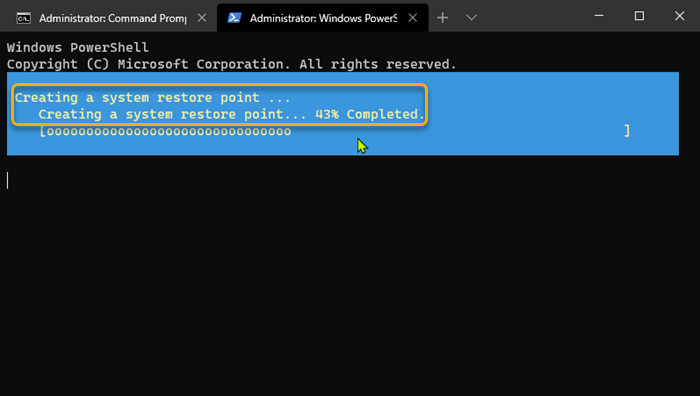 Create a Restore Point using Command Prompt PowerShell 2