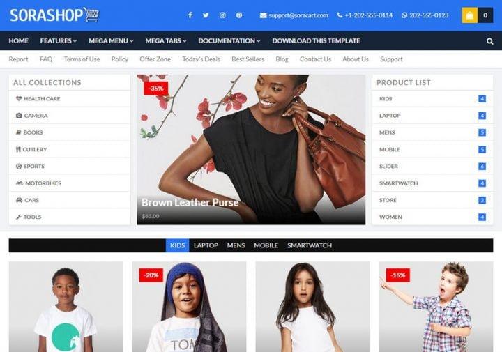 SoraShop Blogger Template giao diện Blog bán hàng online chuẩn seo 2020