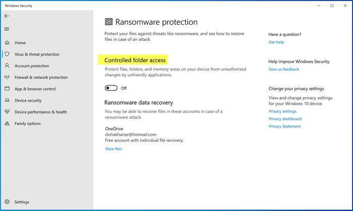 bat va cau hinh ransomware protection trong windows defender tren windows 10 2