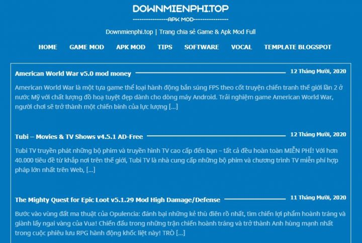 chia se theme wordpress wap game hoac doc truyen