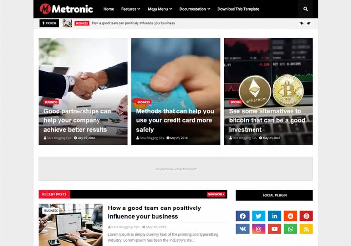 Metronic Blogger Template giao diện Blogspot chuẩn Seo 2020